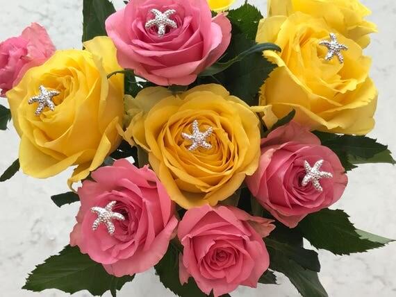 6 Starfish Bouquet Picks-Silver Centerpieces-Boutonnieres-Flower Pins-Floral Pins-Destination Wedding-Bridal Flowers