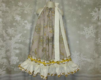 Girls Dress 6/7 Paisley Cream, Taupe, Yellow Flower Pillowcase Dress, Pillow Case Dress, Sundress, Boutique Dress