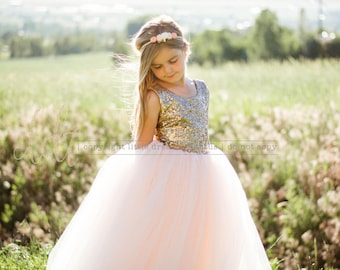 New! The Juliet Dress in Gold Sequins and Blush - Flower Girl Dress