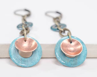 Hardware-inspired Colored Copper Earrings