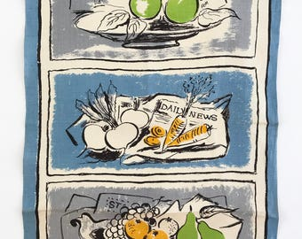 Linen Tea Towel Modernist Art Still Life Wall Hanging Kitchen Decor Lamont Textile