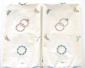 Vintage Pillowcases Embroidered Flower Rings Wedding Circles Crocheted Edge