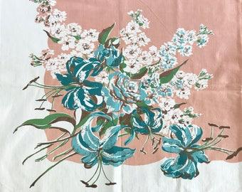 Vintage Floral Tablecloth Lilies Delphinium Mid Century Pattern Peach Blue White