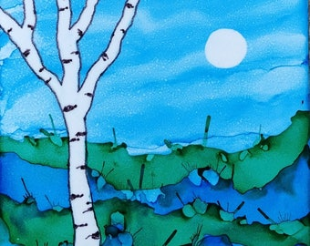Alcohol Ink Ceramic Tile Painting Landscape Birch Tree and Moon