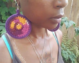 Batik Sol Crochet  Earrings