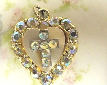 Vintage Rhinestone Heart Cross