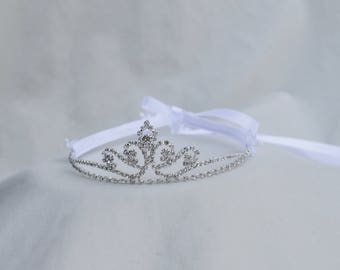 Girls Rhinestone Tiara / Flower Girl Tiara /  Girls Tiara / Princess Tiara / Cinderella Tiara /Flower And Rhinestone Tiara