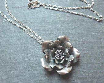 Silver Rose - Karen hill tribe silver rose pendant - sterling silver chain - 24mm rose - fine silver - Karen silver lily - uk