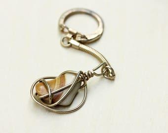 Stone Keychain, Wire Wrap Keychain, Gemstone Keychain, Gold Keychain, Keychain, Vintage Keychain