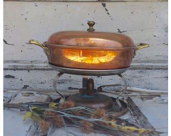 Copper Chaffing Dish - Copper Dish - Covered Dish - Vintage Copper - Copper Warmer - Antique Copper - Vintage Copper Dish - Chaffing Dish
