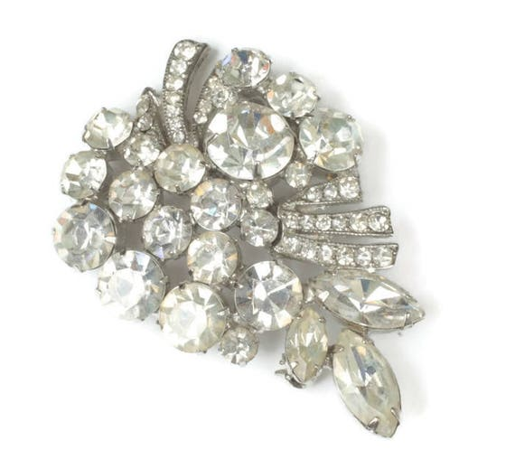 Weiss Signed Rhinestone Brooch Clear Marquise Chatons Wedding Bridal Vintage
