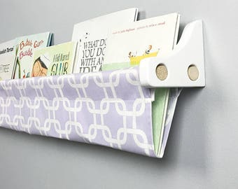 Book Sling and Wooden Brackets- Lavender and White Gotcha Wall Organizer - Choose your size
