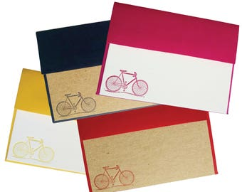 Letterpress Stationery with Bicycle Motif / Blue, Pink, Red, Yellow - set of 4