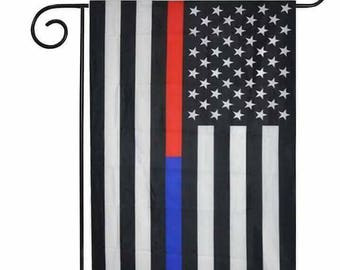 Red blue line/ red blue thin line/ police support/ firefighter support/ firefighter/ police/ garden flag/ garden decoration