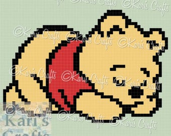 Pooh Sleeping C2C Corner to Corner Baby Afghan Blanket or Pillow PDF Pattern Graph + Written Instructions-Instant Download