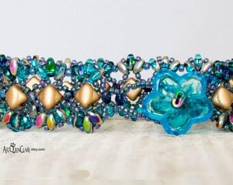 Aqua and Matte Gold Bead Woven Bracelet, Mini Silky and MiniDuo Beaded Bracelet