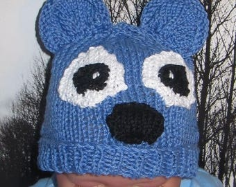 50% OFF SALE Instant Digital File PDF Download knitting pattern -madmonkeyknits Baby Blue Bear Beanie Animal Hat knitting pattern pdf