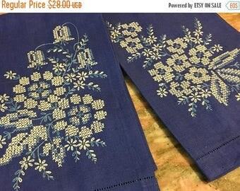 Christmas Sale Vintage Blue Linen Towel Set White Cross Stitch Fingertip Floral
