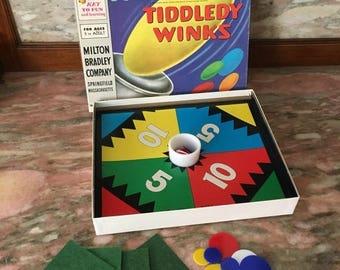 Christmas Sale Jumbo Tiddledy Winks Game 1960s Milton Bradley With Glass Cup