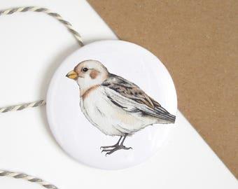 Bird pocket mirror, pocket mirror with hand drawn bird illustration, snow bunting, hand mirror, pocket mirror