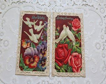Antique Postcards - Flowers and Doves