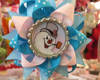 Frosty the Snowman Bottle Cap Hair Bow a CREEPY and CUTE creation layered boutique bow