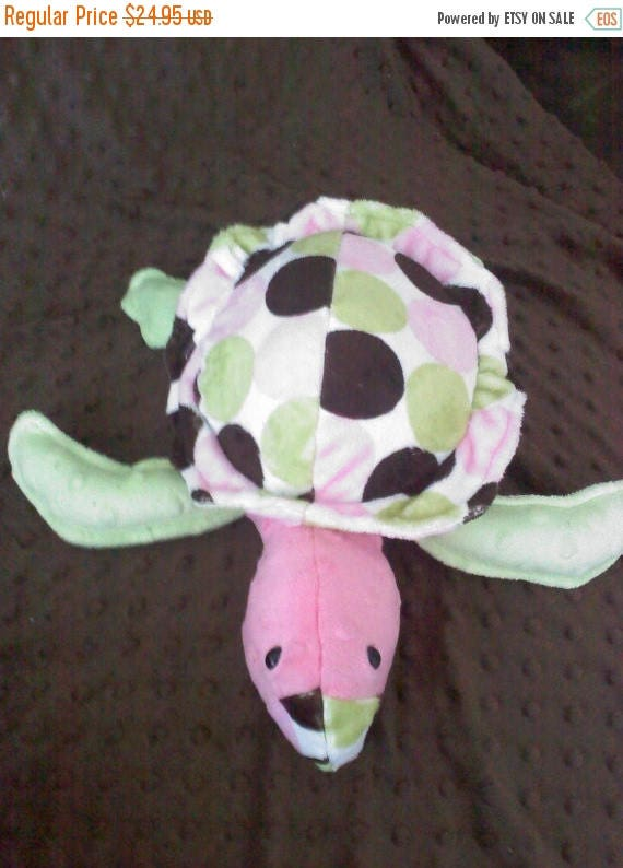 Flash Sale Super Soft Minky Sea Turtle Soft Toy... Pink, Mint Green, and Brown Dots