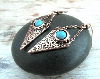Geometric Copper Earrings - Triangle Copper Earrings - Boho Copper Drop Earrings - Bohemian Copper Earrings - Tribal Copper Earrings - Boho