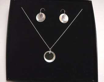Set of textured sterling silver necklace and earrings