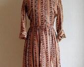 Vintage Late 50's to 60's Orange Pasiley Shirtdress