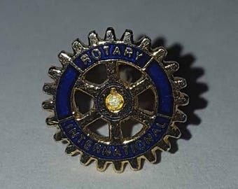 Vintage Gold Metal and Enamel Rotary International Souvenir Lapel Pin