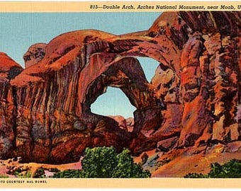 Vintage Utah Postcard - Double Arch at Arches National Monument (Unused)