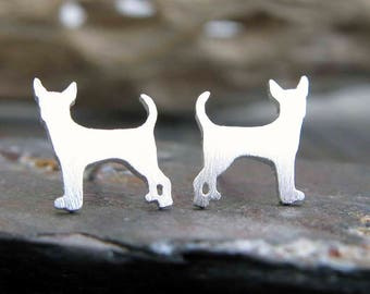 Chihuahua post earrings. Dog silhouette jewelry. Sterling silver, 14k gold filled or solid 14k gold studs. Dog lover gift. Miniature dog.