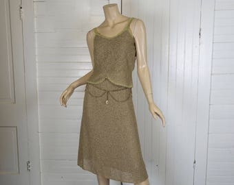70s Disco Outfit in Taupe- 1970s Hippie Festival Boucle Knit Skirt & Tank Top- Natural Fiber- Extra Small Disco Dress- Sleeveless