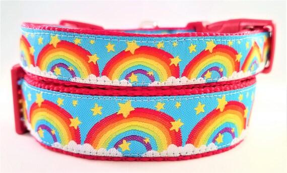 Rainbow Dog Collar, Handmade, Adjustable, Martingale, Side Release Buckle, Large Dog collar, Small Dog Collar, Pet Lover, Pride