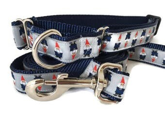Dog Collar and Leash, Gnomes, 1 inch wide, 6ft, adjustable, quick release, metal buckle, chain, martingale, hybrid, nylon