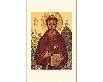 Icon Style Saint Francis of Assisi Holy Cards - Package of 5