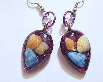 Real Sea Shell Earrings Resin Glitter Bohemian Jewelry Beach Ocean Shore Surgical Steel Sensitive Ears Boho Purple