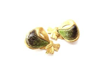 Pair of Signed Sauteur Renoir Modernist / Modern Gold Tone Metal & Speckled Green and Brown Enamel Clip On Earrings