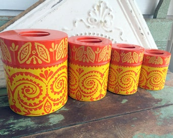 Vintage Nesting MOD Retro Orange and Yellow Swirl Metal Kitchen Canister Set Sugar Flour Coffee Tea
