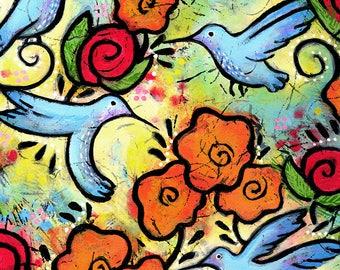 Hummingbird Art Print. Whimsical Bird Print.  Hummingbird Art. Hummingbird Gift. Bird Art for Kids Room. Bird Art for Nursery. Colorful Art.