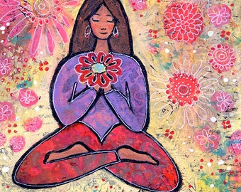 Original Acrylic Yoga Painting Titled Brown Haired Yoga Girl