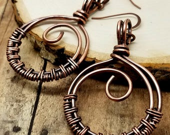 Circle Weave Earrings Copper Wire Oxidized Metal Minimalist Abstract