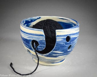 Wheel Thrown Blue and White Marbled Stoneware Yarn Bowl for knitting or crocheting