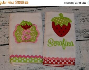 ON SALE Monogram Strawberry Burp Cloth set of 2 Personalized Burpies