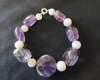 Amethyst and White Agate Stone Beaded Bracelet - Wrist or Ankle