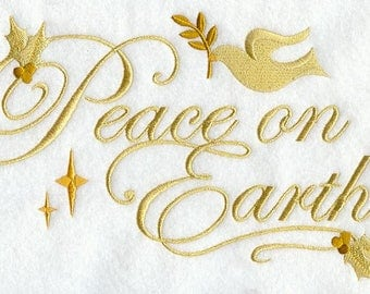 PEACE ON EARTH   Embroidery on Ladies' Tee or Sweat by Rosemary