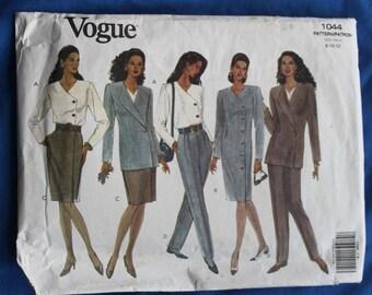 Vogue 1044 Misses' Jacket, Dress, Top, Skirt and Pants Size 8-10-12   New Uncut
