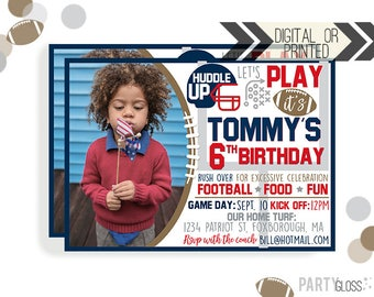 Football Birthday Invitation | Digital or Printed | Football Invitation | New England Invitation | New England Football Invite |