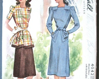 ON SALE 1940 or late 30s McCall's 4042 Misses' Dress with Detachable Peplum  Bust 32